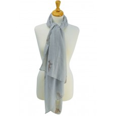 Fox and Rabbit Print Scarf (Oatmeal Grey)