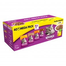 Whiskas 1+ Cat Pouches (Poultry Selection In Jelly) 40 x 100g