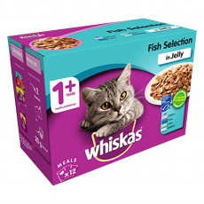 Whiskas 1+ Cat Pouches (Fish Selection In Jelly) 12 x 100g