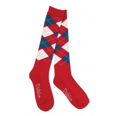 Dublin Adults Argyle Socks (Red/Navy/White)