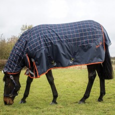 Mark Todd (Clearance) Mediumweight Combo Turnout Rug Plaid (Navy, Orange & Beige)