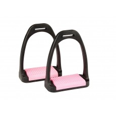 Korsteel Polymer Stirrup Irons With Coloured Treads (Pink)
