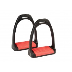 Korsteel Polymer Stirrup Irons With Coloured Treads (Red)