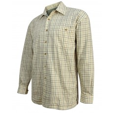 Hoggs of Fife Men's Beech Fleece Lined Shirt (Olive/Tan Tattersall)