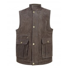 Hoggs of Fife Men's Lomond Leather Waistcoat (Chocolate)