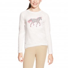 Ariat Girl's Embroidered Pony Top (White)
