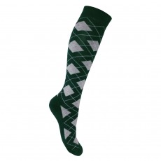Mark Todd Women's Argyle & Stripe Twin Pack Long Socks (Green & Grey)