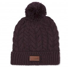 Musto Women's Chunky Cable Knit Bobble Hat (Damson Marl)