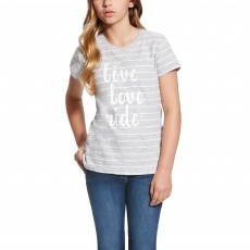 Ariat Girl's Live Love Ride Tee (Heather Grey Stripe)