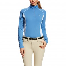 Ariat Women's Tri Factor Quarter Zip Top (Blue Saga)