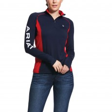 Ariat Women's Team Tri Factor Quarter Zip Top (Navy)