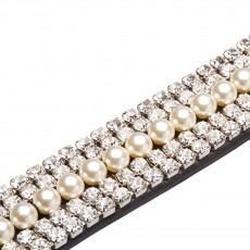 Caldene Curved 5-Row Diamante & Pearl Browband (Black)