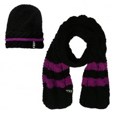 Ariat FEI Cable Knit Hat and Scarf Set (Black/FEI Purple)