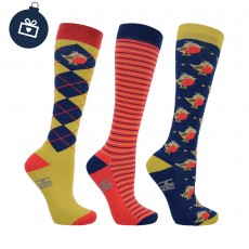 Hy Mr Robin Socks 3pk (Red, Gold, Hazel & Blue)