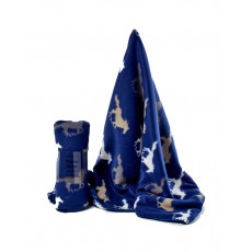 Horse Fleece Cozy Throw (Navy & White)