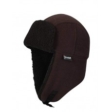 Waterproof  Mens Fleece Lined Waterproof Trapper Hat Brown