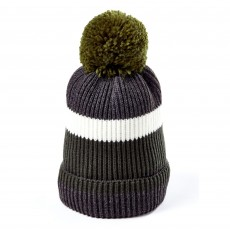 Clayton Men's Bobble Hat (Olive Block Stripe)