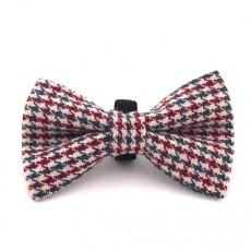 Hugo & Hudson Dog Bow Tie (Herringbone Red/Blue)