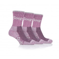 Jeep Ladies Luxury Cushion Boot Socks Rose/Cream 3 Pack