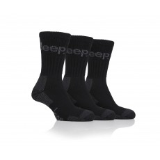 Jeep Mens Luxury Cushion Boot Socks Black/Charcoal 3 Pack