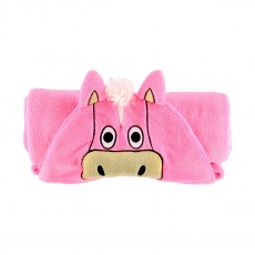 LazyOne Hooded Critter Fleece Blanket Horse (Pink)