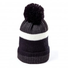 Clayton Men's Bobble Hat (Grey Block Stripe)
