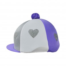 Little Rider Love Heart Glitter Hat Cover  (Lilac/Silver/White)