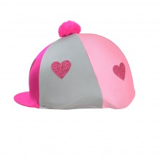 Little Rider Love Heart Glitter Hat Cover (Pink/Silver/Light Pink)
