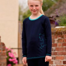 Mark Todd Kids Long Sleeve Tee (Navy/Aqua)
