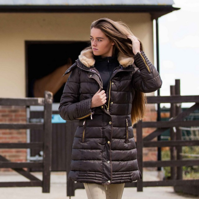 Mark Todd Women S Deluxe Long Padded Coat Chocolate Old