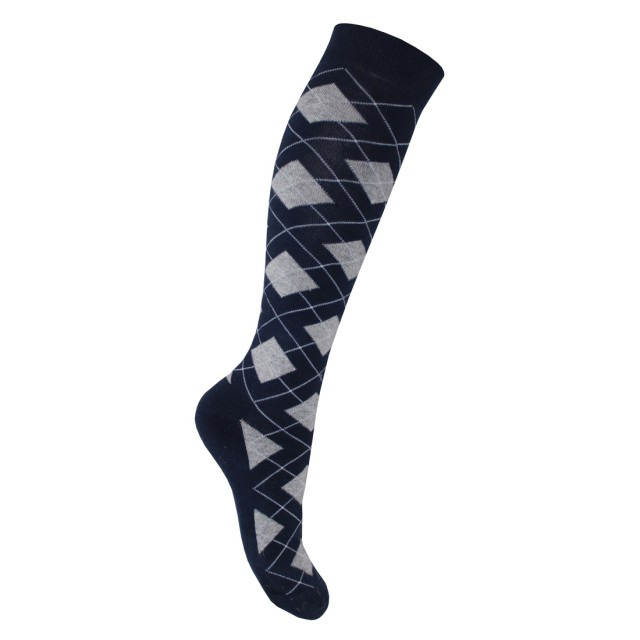 Mark Todd Women's Argyle & Stripe Twin Pack Long Socks (Navy & Grey)