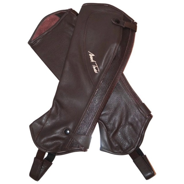 Mark Todd Adults Close Fit Soft Leather Chaps (Brown & Cream)