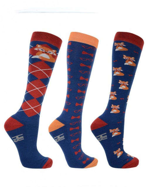 Hy Fraser the Fox Socks 3pk (Navy, Red & Orange)